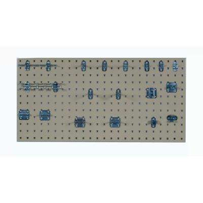 3/8 in. Tan Steel Square Hole Pegboards with LocHook Assortment (18-Pieces )