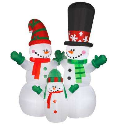 144 in. Inflatable Snowman Family