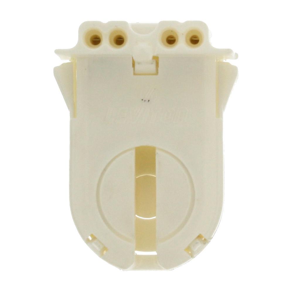 Leviton 660W Medium Base T8 Bi-Pin Extra-Low Profile Snap-In/Slide-On Fluorescent Lampholder Wide-Wing Design, White
