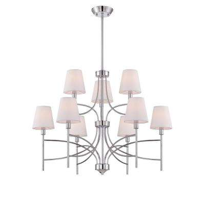 Millau Collection 9-Light Chrome Chandelier with Fabric Shade