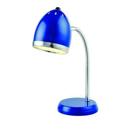 16 in. Blue And Chrome Desk Lamp