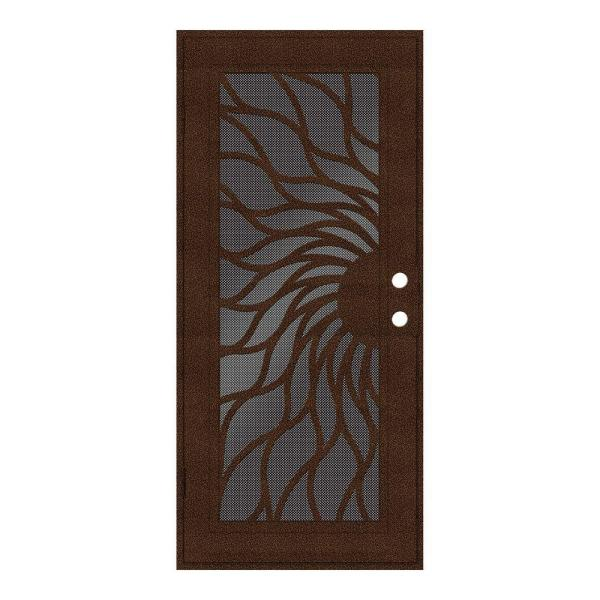 32 in. x 80 in. Sunfire Copperclad Left-Hand Surface Mount Aluminum Security Door with Black Perforated Screen