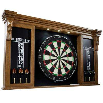 Woodhaven Premium Bristle Dartboard Cabinet Set with LED Lights
