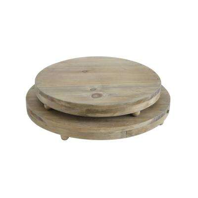 Round Natural Wood Pedestal Trays (Set of 2)