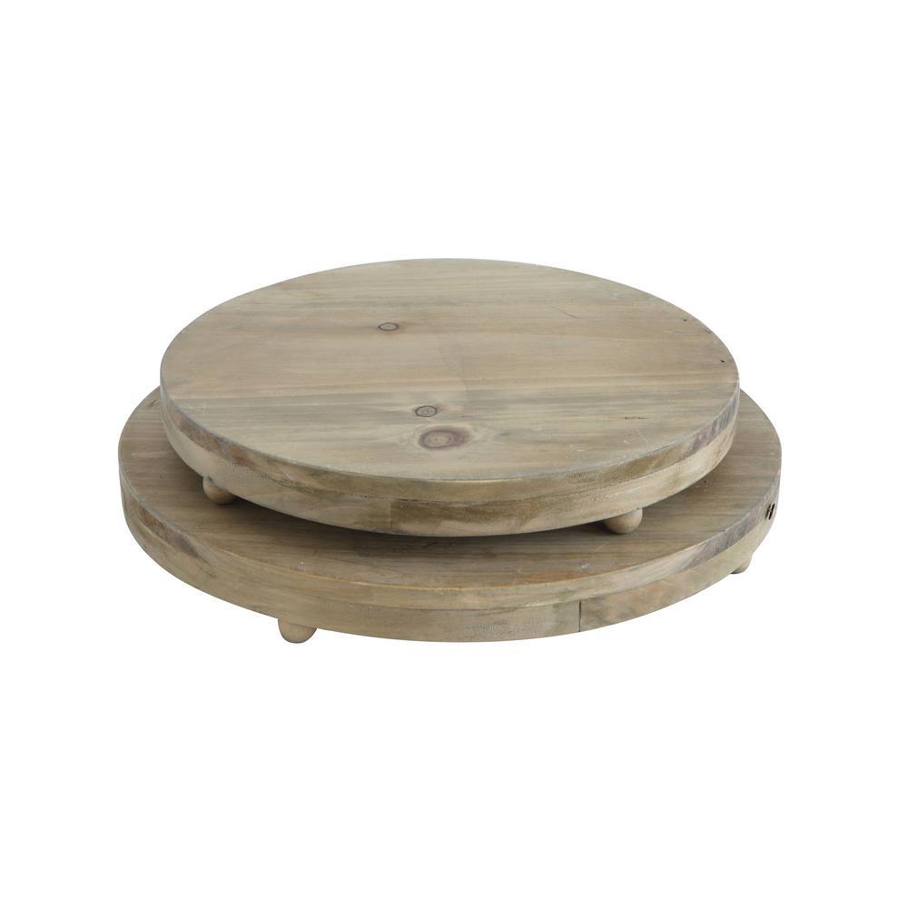 3R Studios Round Natural Wood Pedestal Trays (Set of 2)