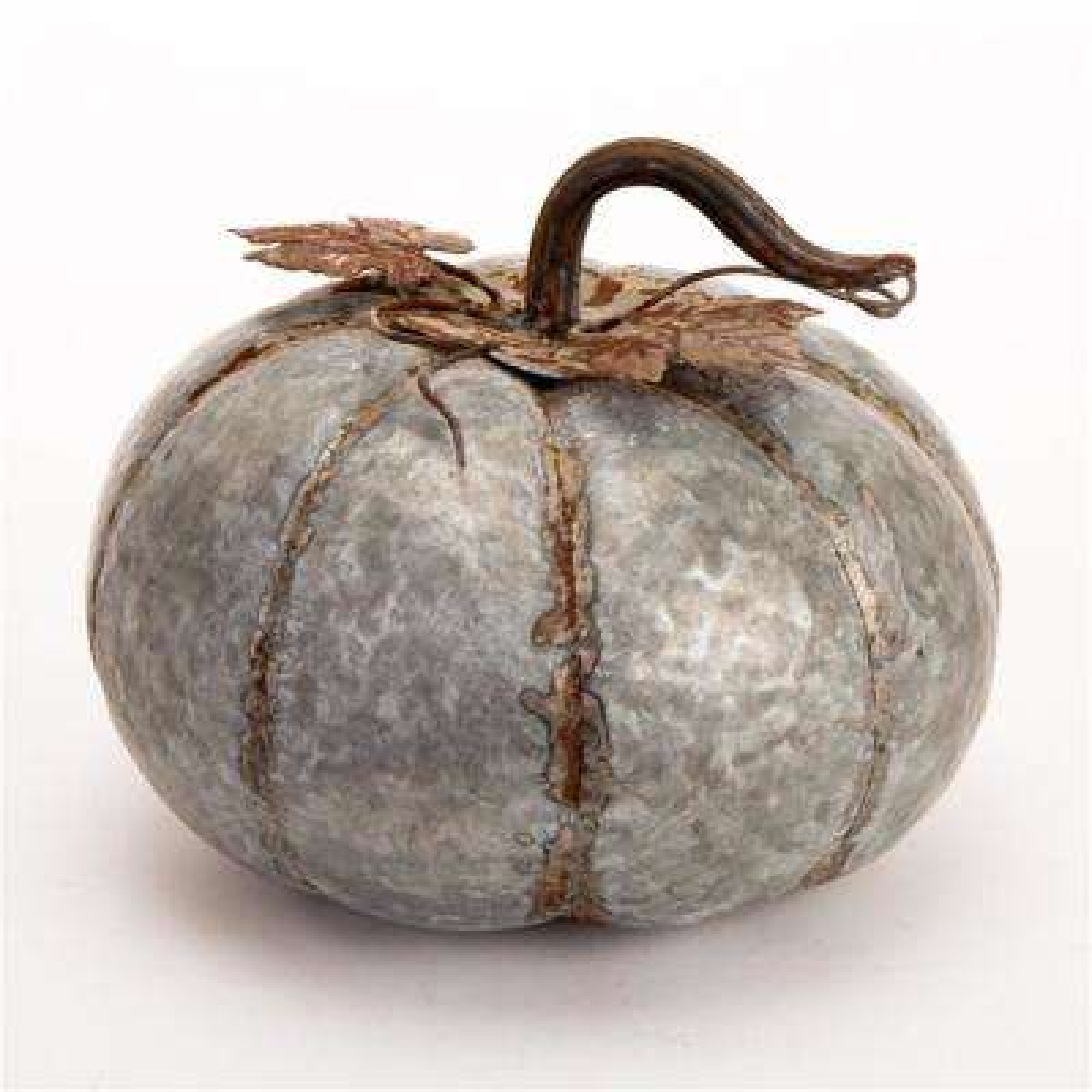 8 in. H Medium Galvanized Pumpkin