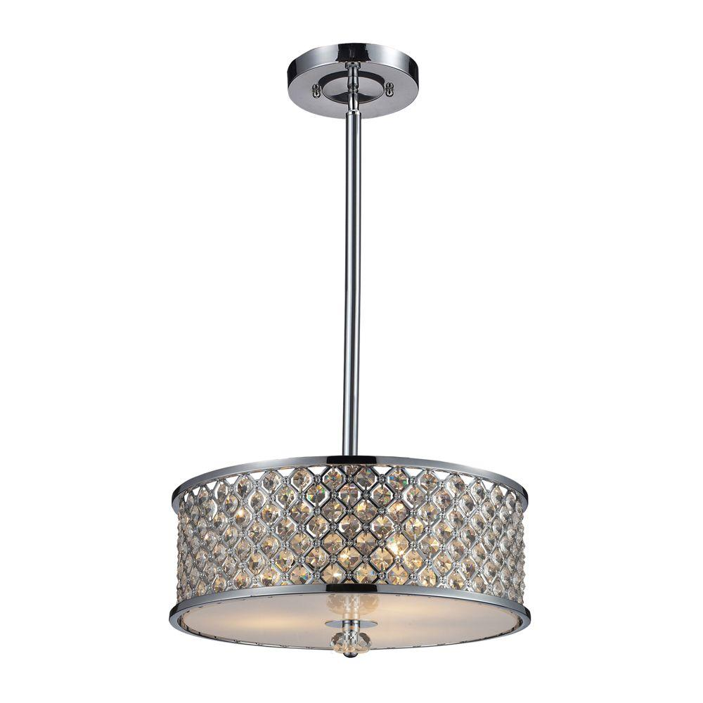 Genevieve 3-Light Polished Chrome Ceiling Semi-Flush Mount Light