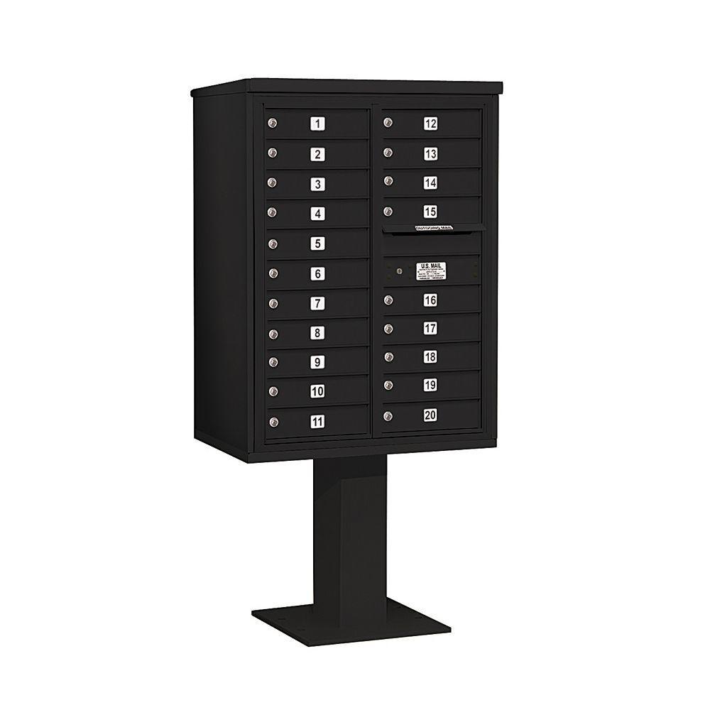 3400 Series 69-1/8 in. 11 Door High Unit Black 4C Pedestal Mailbox with 20 MB1 Doors