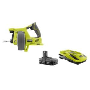 Ryobi 18-Volt ONE+ Drain Auger + 18-Volt ONE+ Lithium-Ion Battery and IntelliPort Charger Upgrade Kit by Ryobi