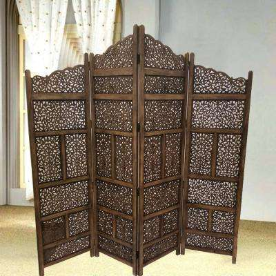 Brown Hand Carved Foldable 4-Panel Wooden Partition Room Divider