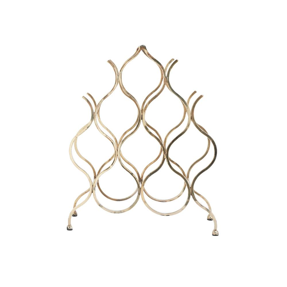 8-Bottle Gold Iron Wavy Frame Wine Holder
