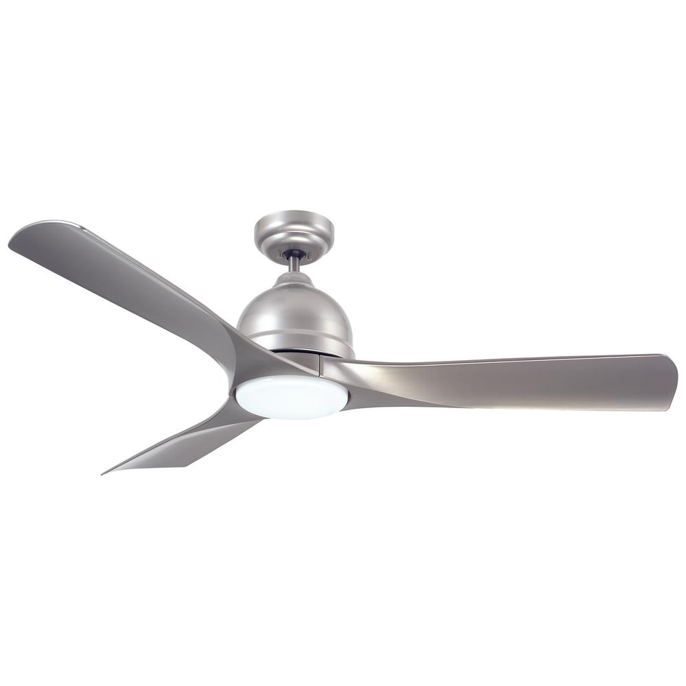 emerson volta 54 in. led indoor/outdoor platinum ceiling fan