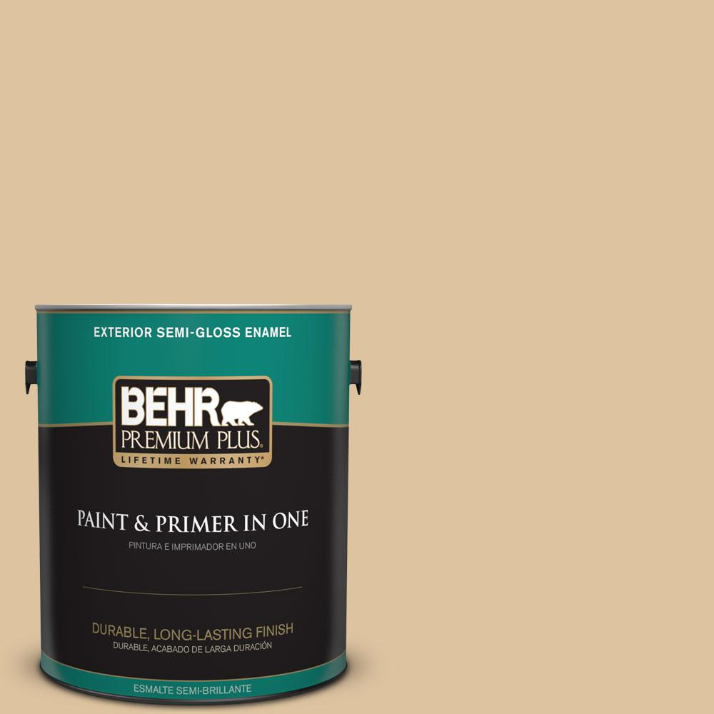 BEHR Premium Plus 1-gal. #S300-3 Almond Cookie Semi-Gloss Enamel Exterior Paint