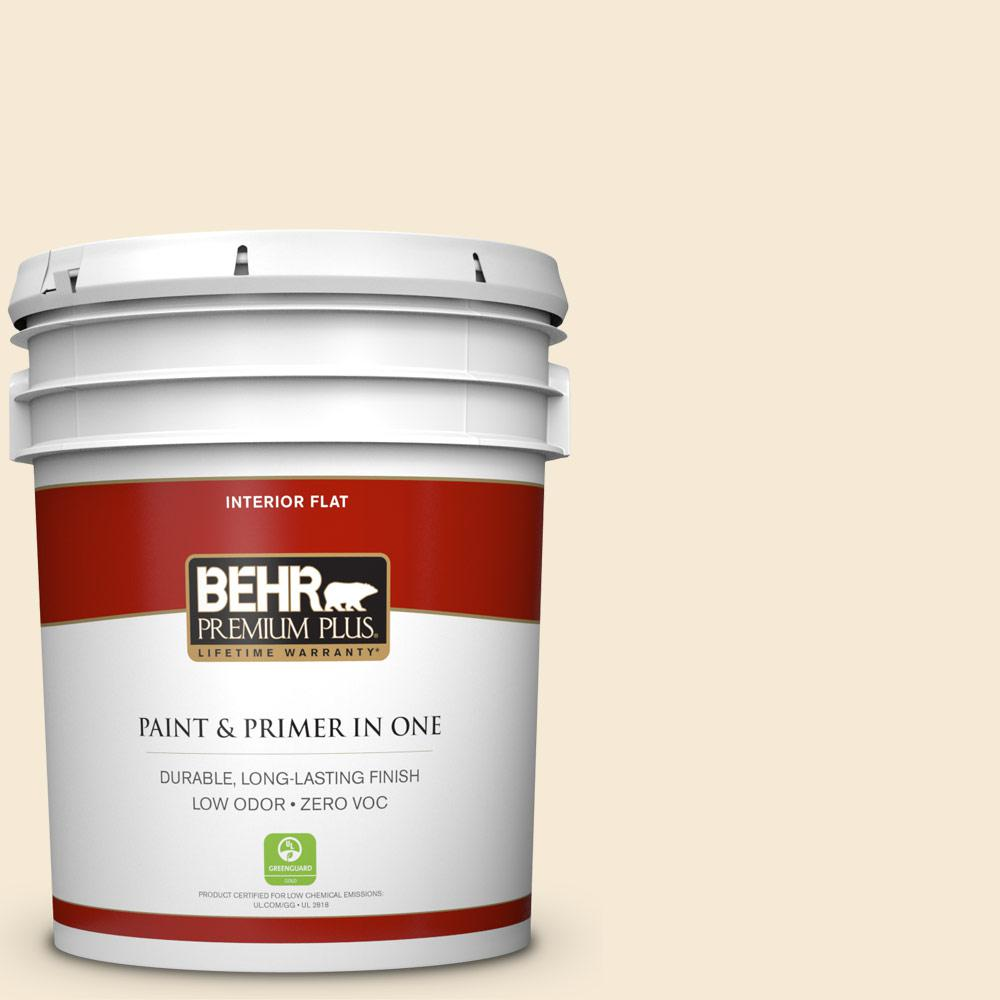BEHR Premium Plus 5-gal. #ICC-10 Vanilla Cream Zero VOC Flat Interior Paint