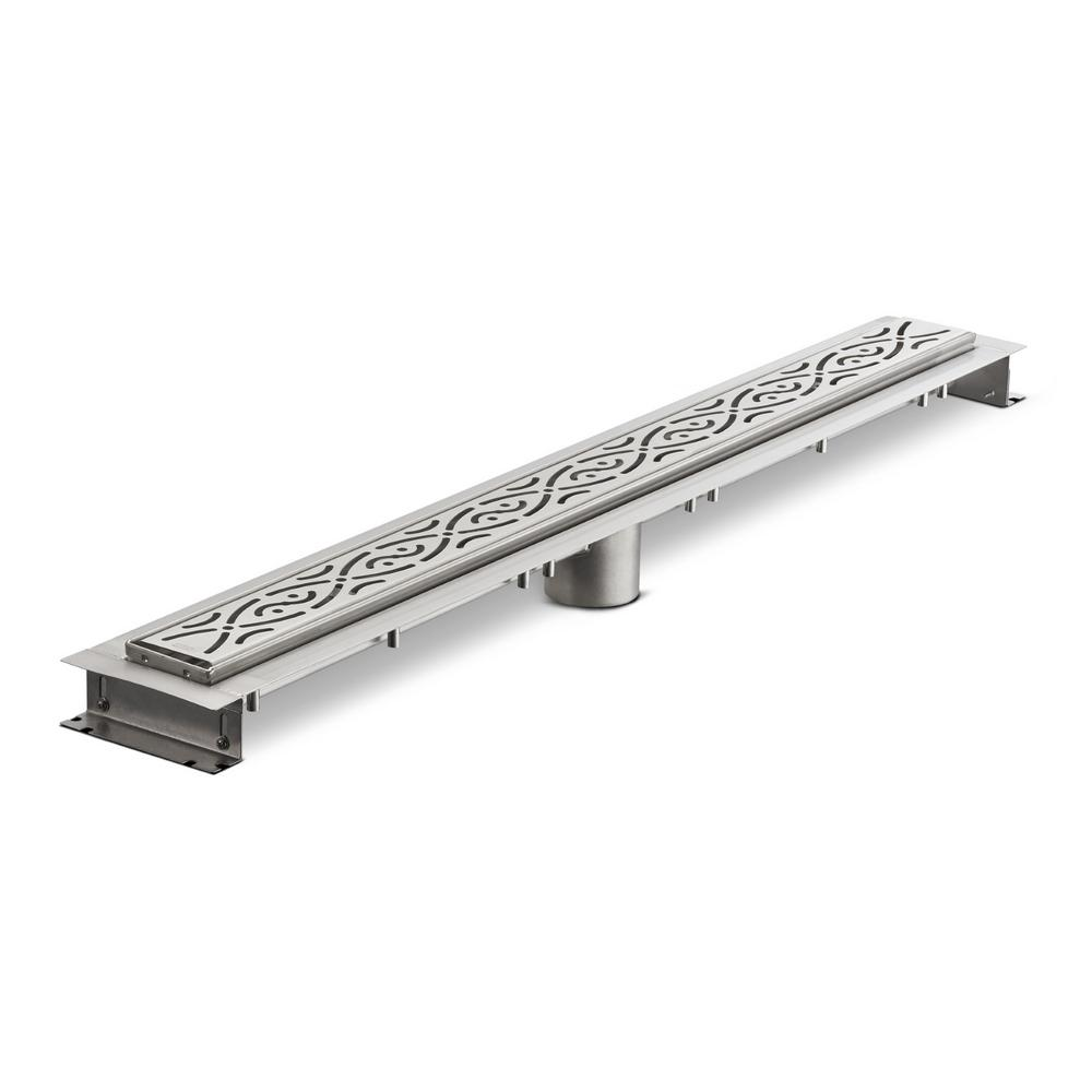 32 in. Stainless Steel Linear Shower Drain with Serenity Grate