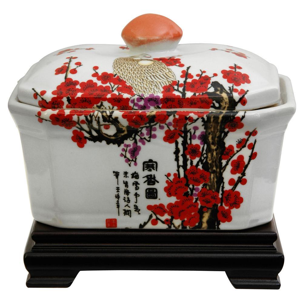 Oriental Furniture 5 in. Porcelain Decorative Vase in White