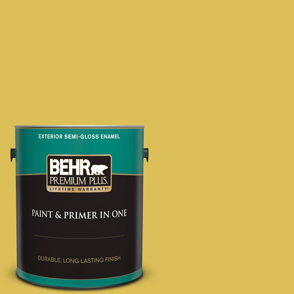 BEHR Premium Plus 1 gal  #P320-6 Sulfur Yellow Semi-Gloss Enamel Exterior  Paint and Primer in One