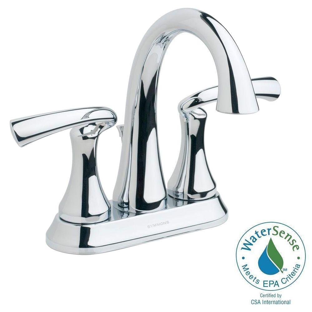 Symmons Symmons Brenna 4 in. Centerset 2-Handle Mid-Arc Bathroom Faucet in Chrome, Grey