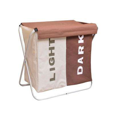 Light Coffee and Dark Coffee Fabric Portable Double Lattice Laundry Basket