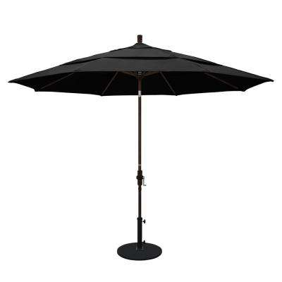 11 ft. Aluminum Collar Tilt Double Vented Patio Umbrella in Black Olefin