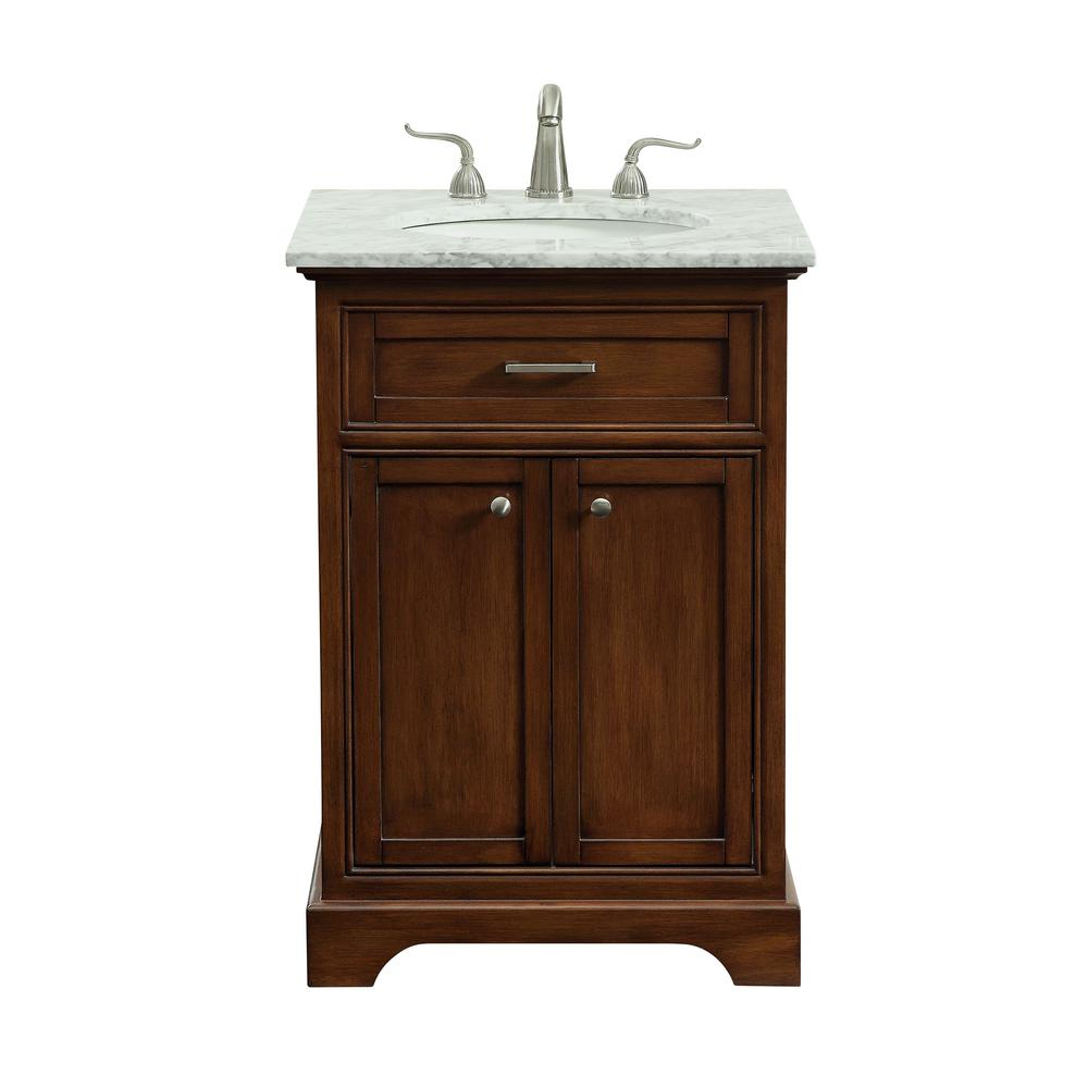Single bathroom vanity with 1 shelf 2 doors marble top