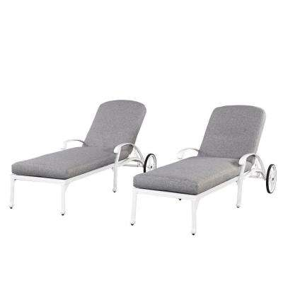 Floral Blossom White All-Weather Chaise Lounge Chair Pair with Cushion