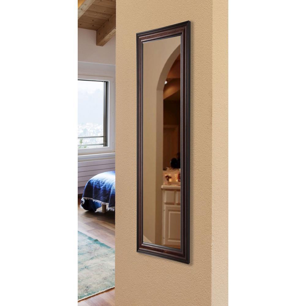 29.5 in. x 64.5 in. Vanity American Walnut Non Beveled Floor Mirror