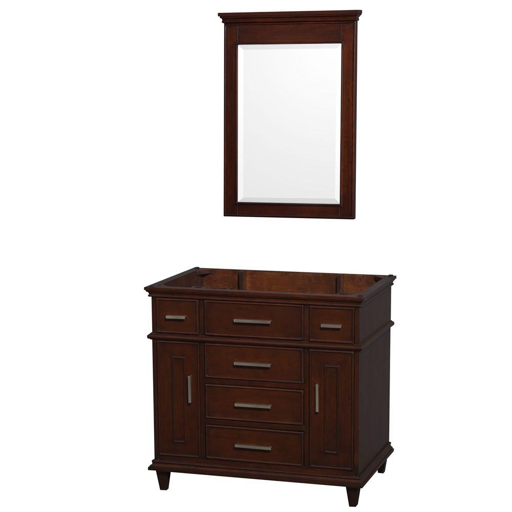 Berkeley 36 in. Vanity Cabinet with Mirror in Dark Chestnut