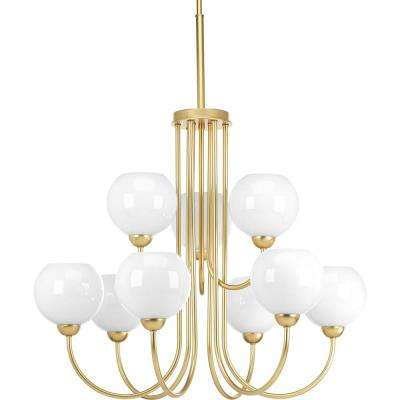 Carisa Collection 9-Light Vintage Gold Chandelier with Shade