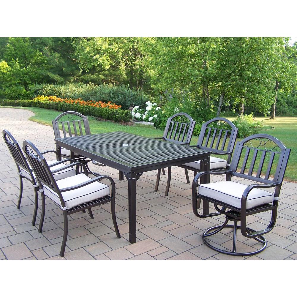 Oakland Living Rochester 7 Piece Patio Dining Set With 2 Swivel Chairs And Cushions 6137 3830