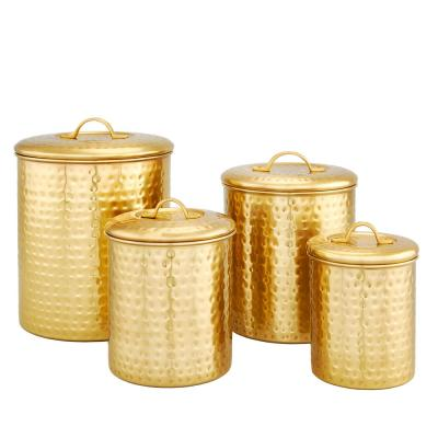"""4-Piece Decor Champagne """"Hammered"""" Storage Canister Set"""
