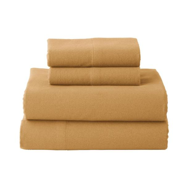 The Company Store Solid Flannel 4-Piece Amber Queen Sheet Set EC51-Q-AMBER