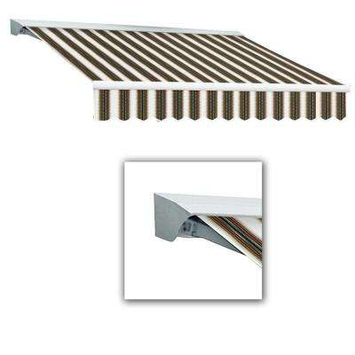 12 ft. LX-Destin with Hood Left Motor/Remote Retractable Acrylic Awning (120 in. Projection) in Burgundy/Forest/Tan