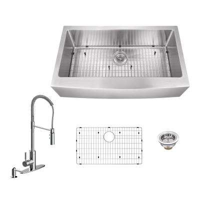 Apron Front Stainless Steel 30 in. Single Bowl Kitchen Sink with Pull Out Kitchen Faucet