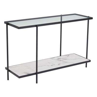 Winslett Clear and White and Matt Black Console Table