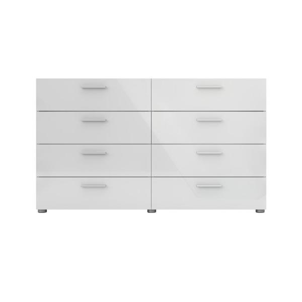 8 Drawer Oak Structure White High Gloss