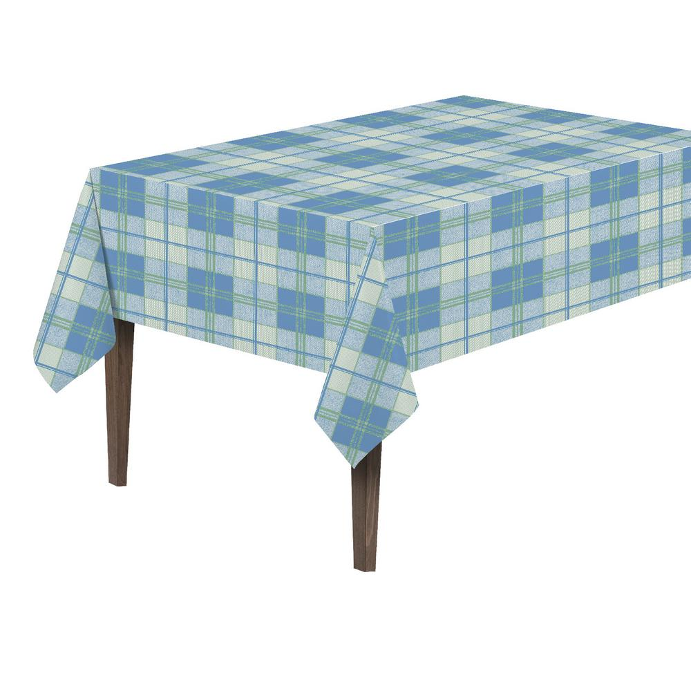 55 in. x 70 in. Indoor and Outdoor Plaid Design Table
