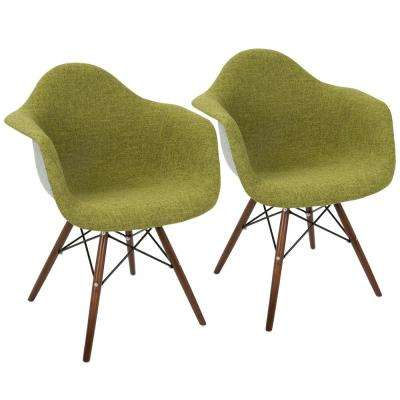 Neo Flair Duo Green, Grey, and Espresso Accent Chair (Set of 2)