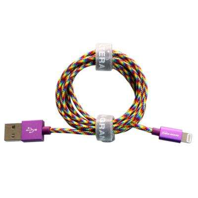 4 ft. Apple MFi Certified Lightning to USB Braided Cable with Aluminum Housing, Rainbow