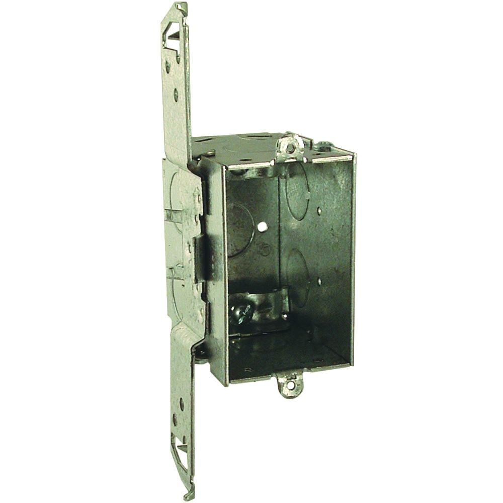 null 2-3/4 in. Deep Gangable Switch Box with NMSC Clamps and TS Bracket Set Back 1/2 in. (25 Pack)-DISCONTINUED