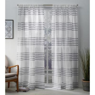 Monet 54 in. W x 108 in. L Sheer Rod Pocket Top Curtain Panel in Silver (2 Panels)