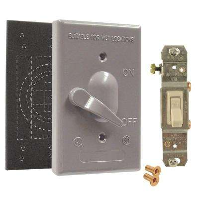 Gray 1-Gang Weatherproof Toggle Switch Cover Assembly