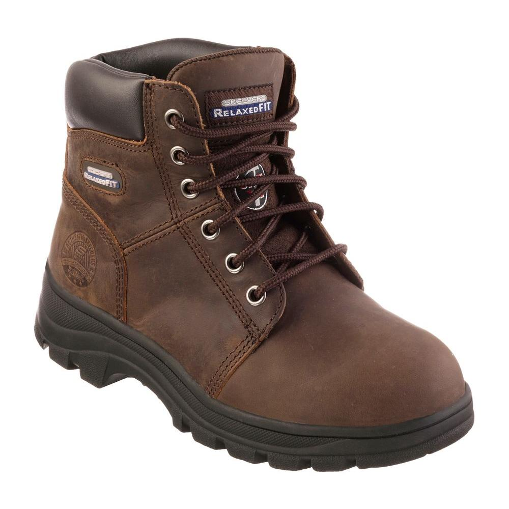 Skechers Work 76561 Steel Toe Work Boots Womens Dark Brown Store