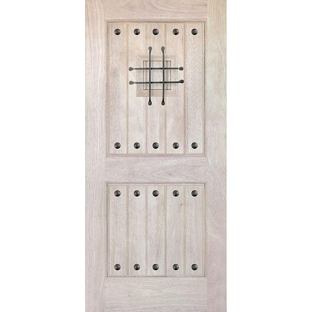 Main Door 30 in. x 80 in. Rustic Mahogany Type Unfinished Solid Wood V-Groove Speakeasy Front Door Slab