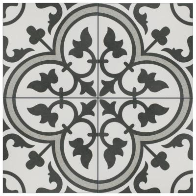 Merola Tile Arte Grey Encaustic 9 3 4 In X 9 3 4 In Porcelain Floor And Wall Tile 11 11 Sq Ft Case Fcd10arg The Home Depot