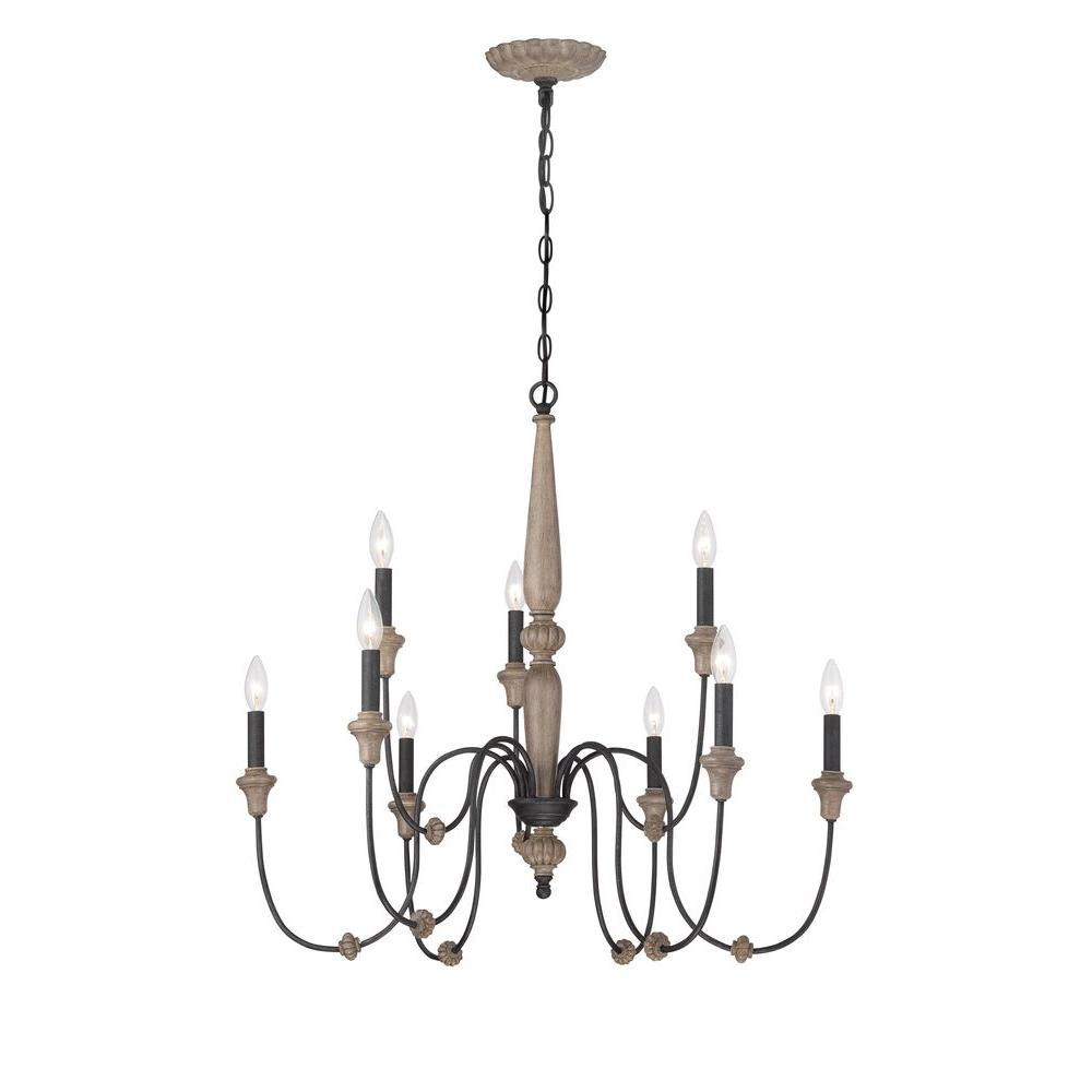 World Imports Capra 9-Light Rust Chandelier with Distressed Ivory Accents