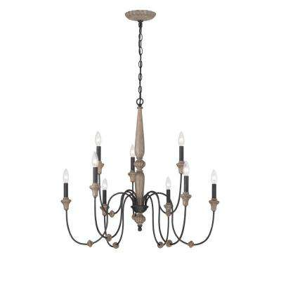 Capra 9-Light Rust Chandelier with Distressed Ivory Accents