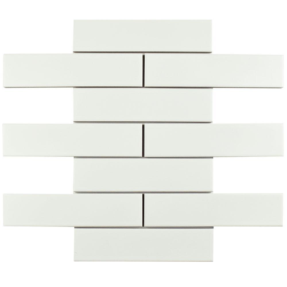 Merola Tile Metro Soho Subway Matte White 1-3/4 in. x 7-3/4 in. Porcelain Floor and Wall Tile (16 sq. ft. / case)