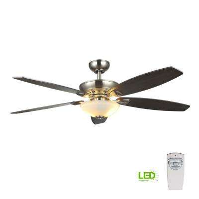 Led Satin Nickel Dual Mount Ceiling Fan With Light Kit And