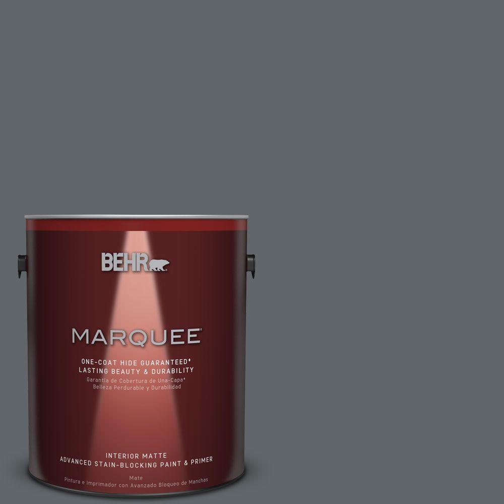 BEHR MARQUEE 1 gal. #N450-6 Binary Star One-Coat Hide Matte Interior Paint, Grays